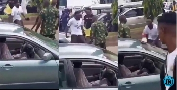#EndSars: Angry Protester Refuses To Back Down Despite Being Flogged By Soldiers (Video)